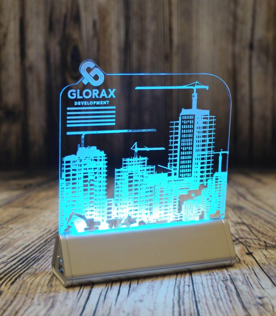Светозар Акрилайт купить недорого в москве настольный бизнес-сувенир с подсветкой светящийся логотип компании корпоративный подарок Глоракс