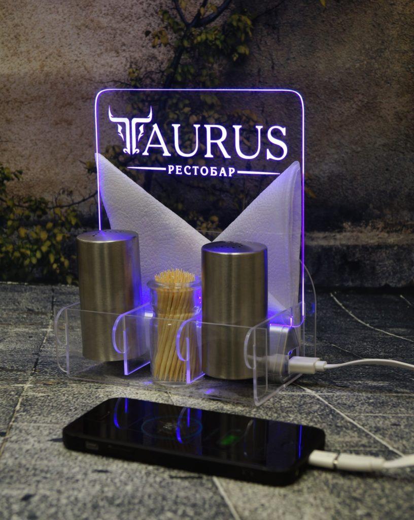 Акрилайт цена Мск настольный бизнес-сувенир с подсветкой светящийся логотип компании корпоративный подарок Таурус