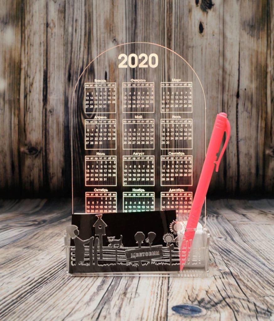Акрилайт - Изготовление рекламы оптом Екатеринбург настольный бизнес-сувенир с подсветкой светящийся логотип компании корпоративный подарок календарь