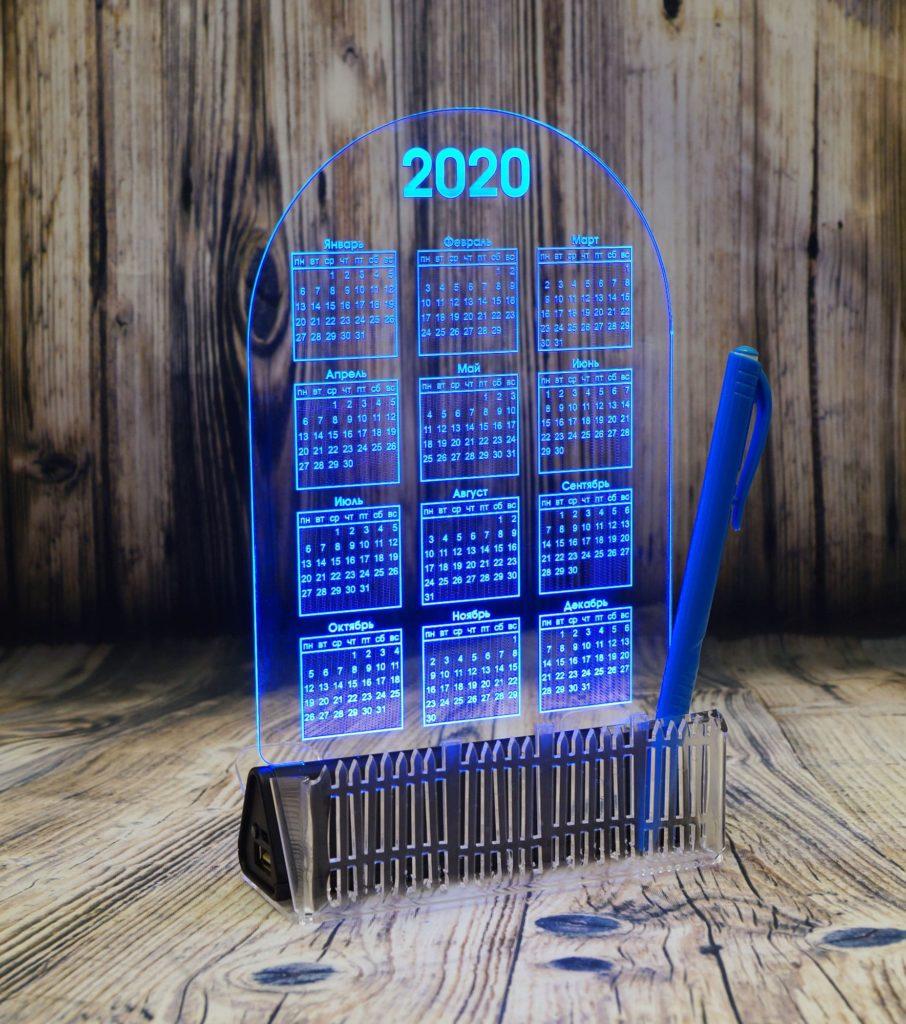 Акрилайт Мск купить цена оптом настольный бизнес-сувенир с подсветкой светящийся логотип компании корпоративный подарок календарь