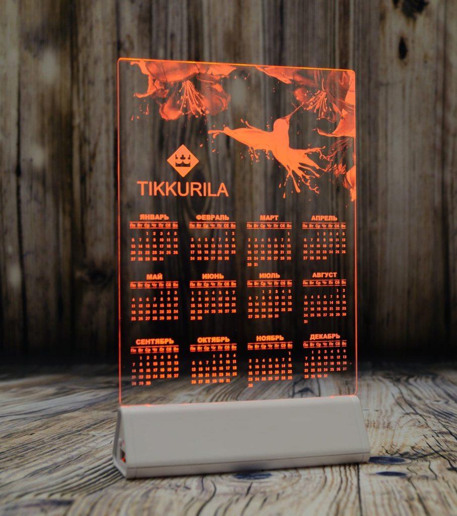 Акрилайт Питер заказать оптом цена производителя настольный бизнес-сувенир с подсветкой светящийся логотип компании корпоративный подарок календарь Тикурилла