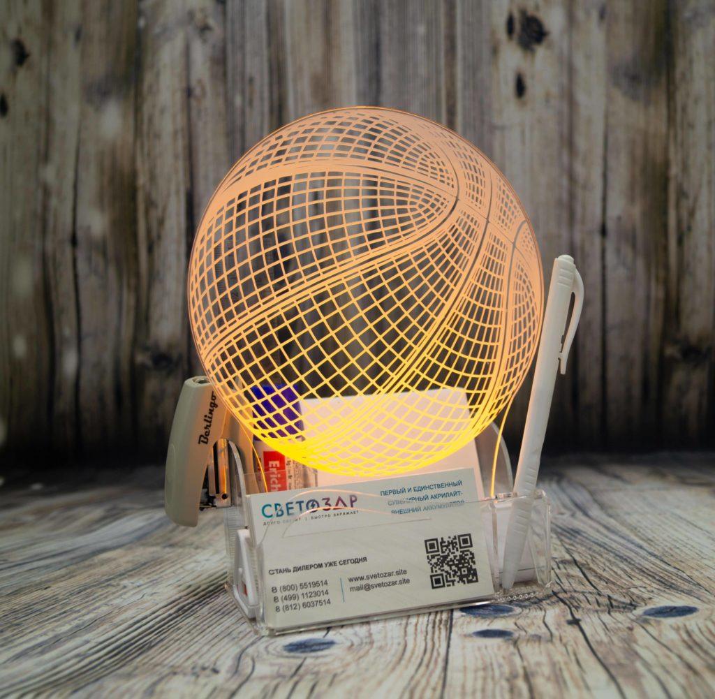 Акрилайт купить оптом настольный бизнес-сувенир с подсветкой светящийся логотип компании корпоративный подарок визитница