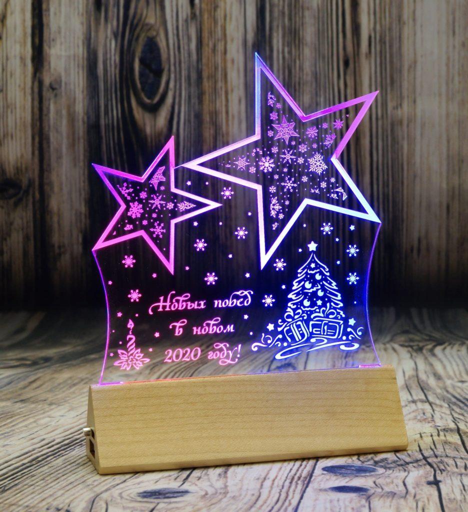 Изготовление акрилайтов СПБ настольный бизнес-сувенир с подсветкой светящийся логотип компании корпоративный подарок