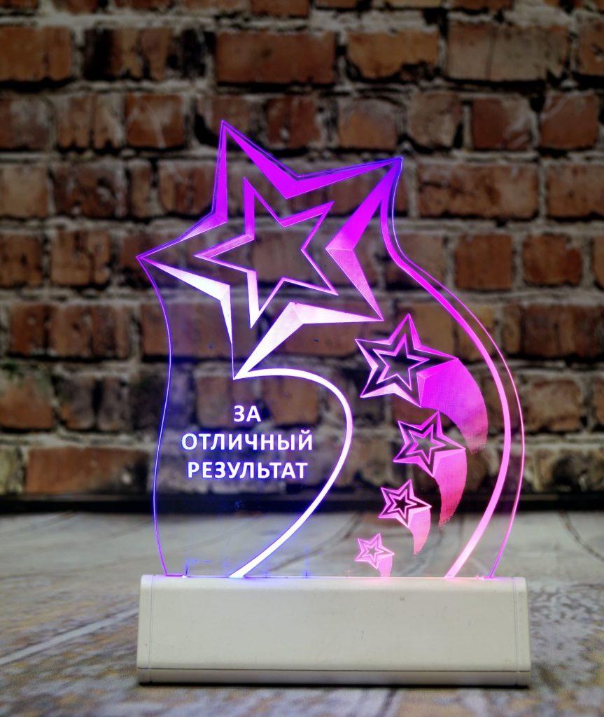 Изготовление акрилайтов на заказ недорого быстро Екатеринбург настольный бизнес-сувенир с подсветкой светящийся логотип компании корпоративный подарок