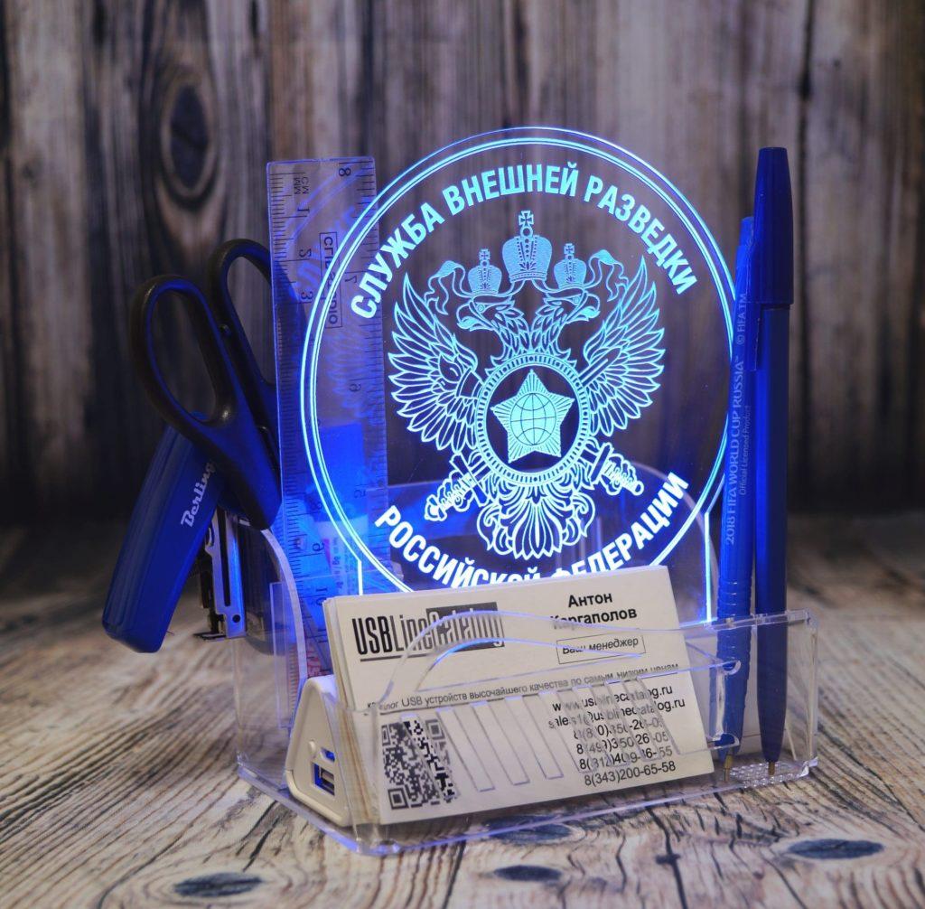 Заказать изготовление акрилайтов настольный бизнес-сувенир с подсветкой светящийся логотип компании корпоративный подарок визитница