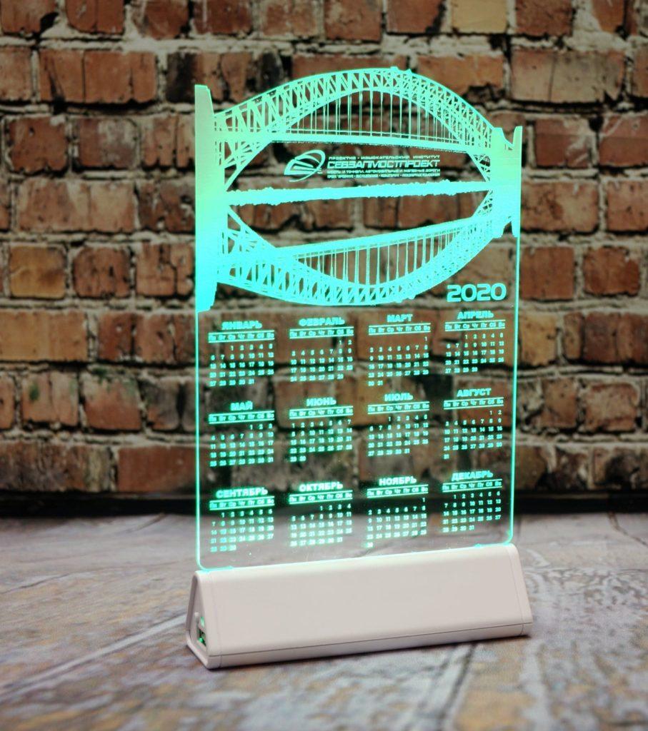 акрилайт цена оптом заказать настольный бизнес-сувенир с подсветкой светящийся логотип компании корпоративный подарок календарь