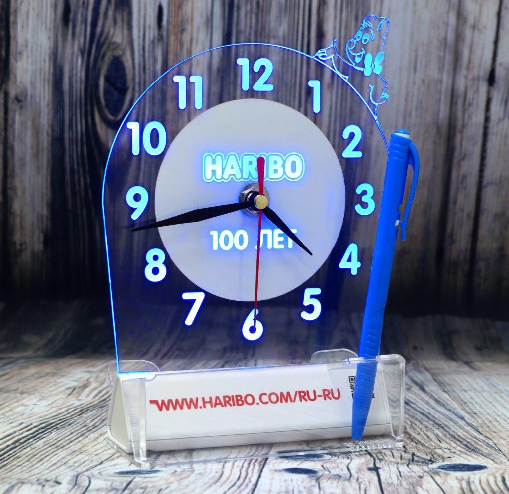 """СВЕТОЗАР акрилайт логотип светящийся бизнес сувенир настольный повер банк с подсветкой """"настольный бизнес-сувенир с подсветкой светящийся логотип компании корпоративный подарок часы"""