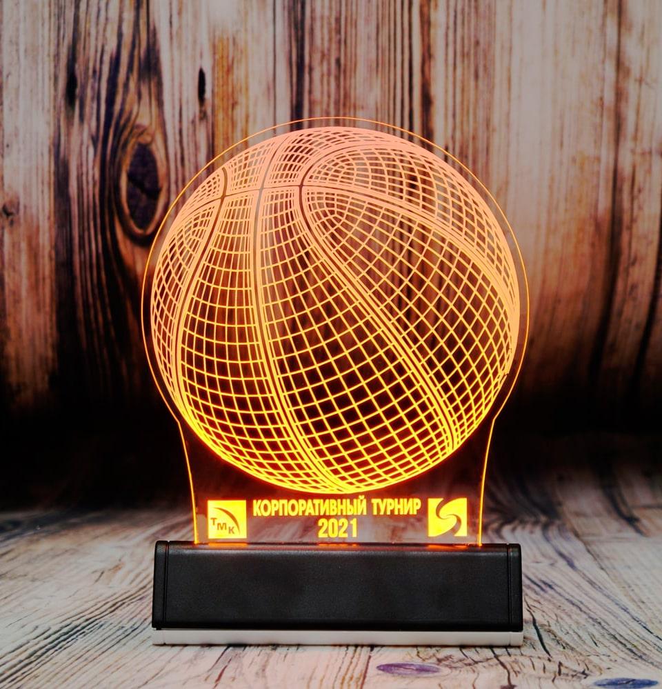 СВЕТОЗАР настольный бизнес сувенир акрилайт с подсветкой логотип компаний оранжевая подсветка настольный бизнес-сувенир с подсветкой светящийся логотип компании корпоративный подарок