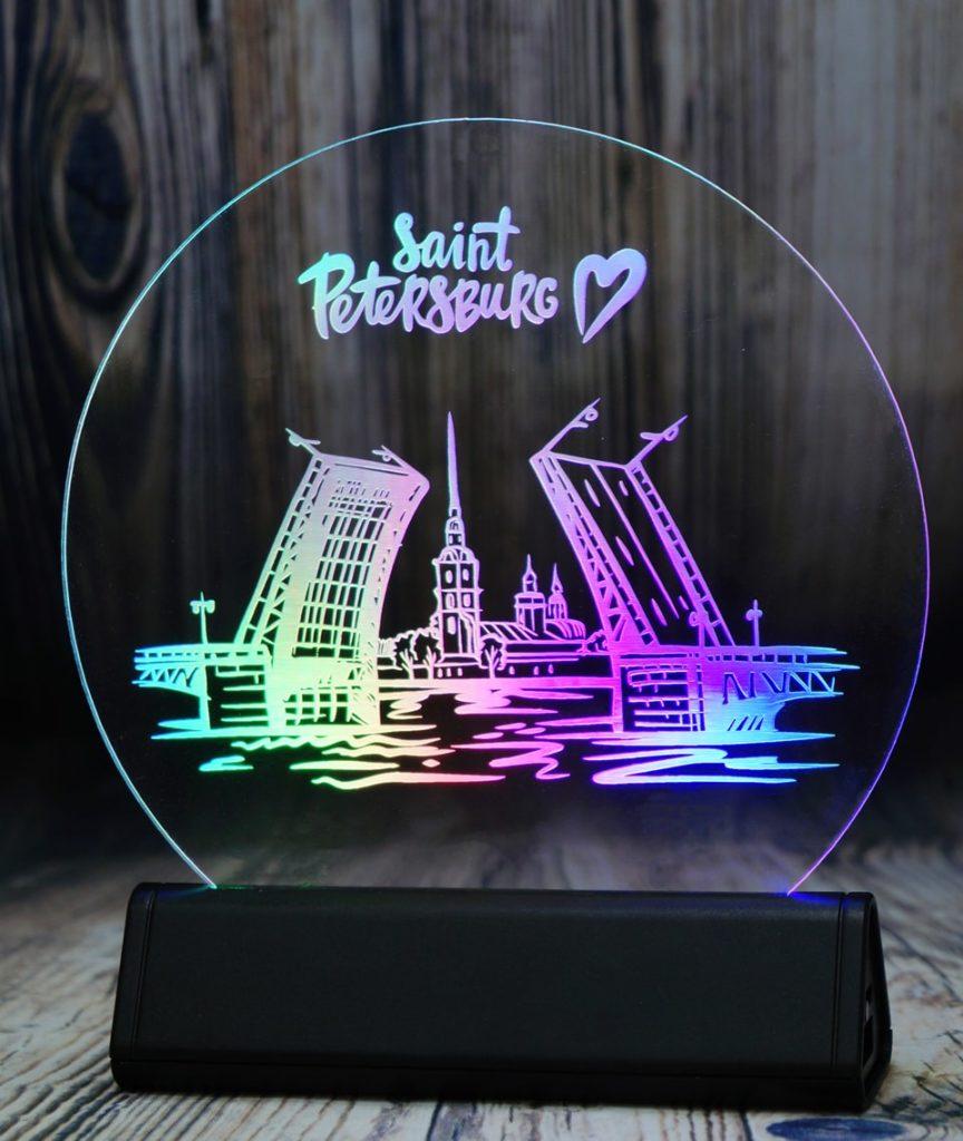 СВЕТОЗАР настольный бизнес сувенир акрилайт с подсветкой логотип компаний светящийся настольный бизнес-сувенир с подсветкой светящийся логотип компании корпоративный подарок