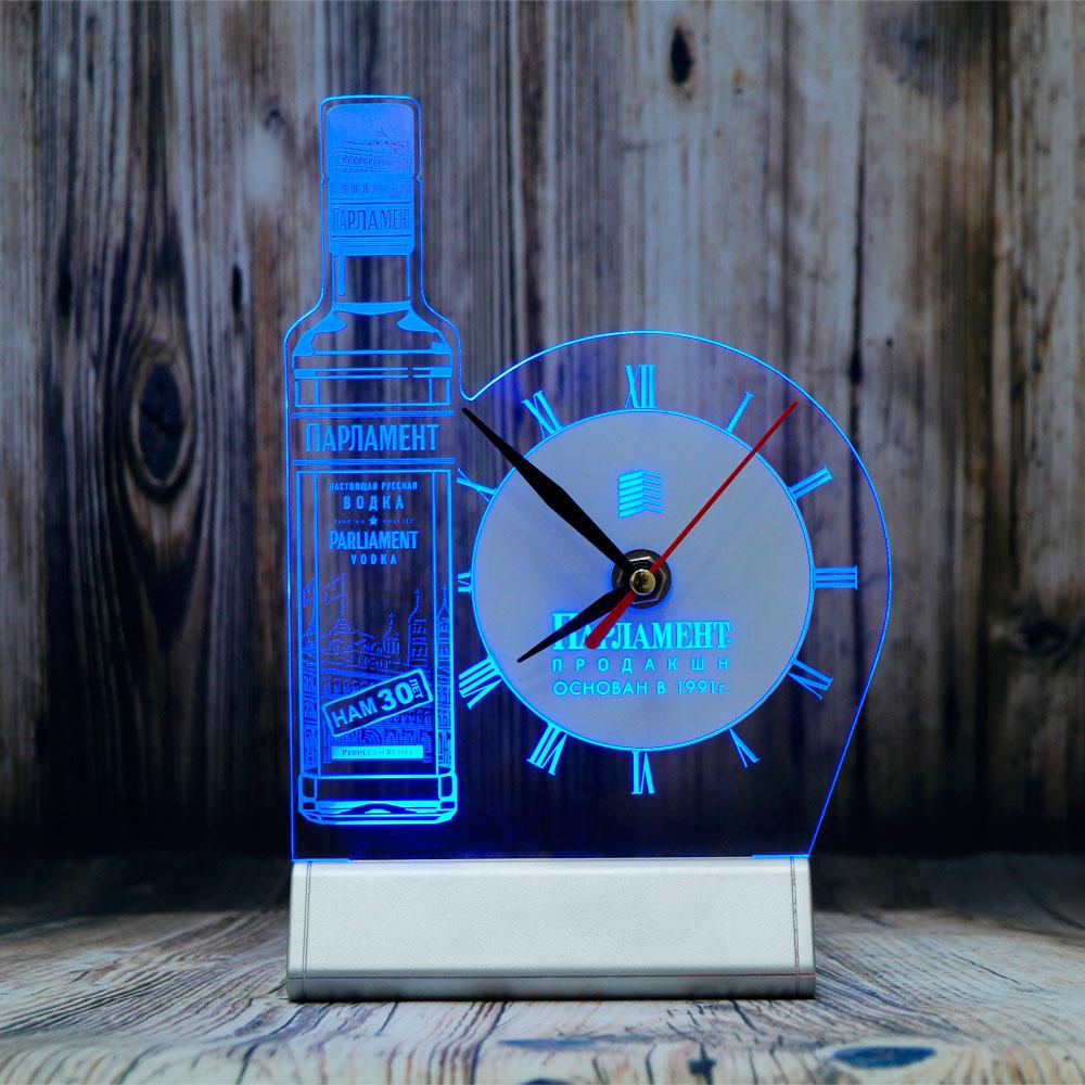Парламент-настольный бизнес сувенир синяя подсветка часы светозар часы настольный бизнес-сувенир с подсветкой светящийся логотип компании корпоративный подарок