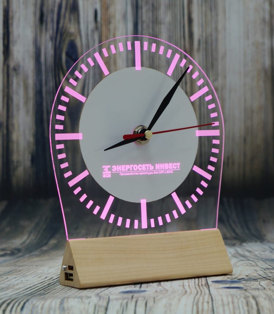 светозар часы настольный бизнес сувенир с подсветкой логотип компании акрилайт настольный бизнес-сувенир с подсветкой светящийся логотип компании корпоративный подарок