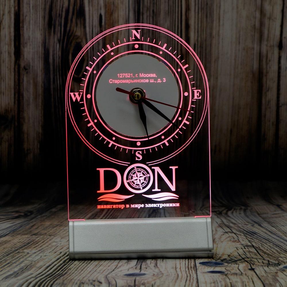 акрилайт с подсветкой светозар настольный бизнес сувенир с логотипом компании внешний аккумулятор часы (1)
