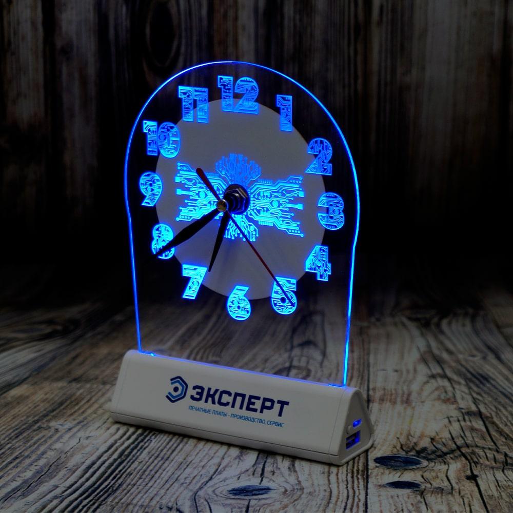 акрилайт с подсветкой светозар настольный бизнес сувенир с логотипом компании внешний аккумулятор часы (5)